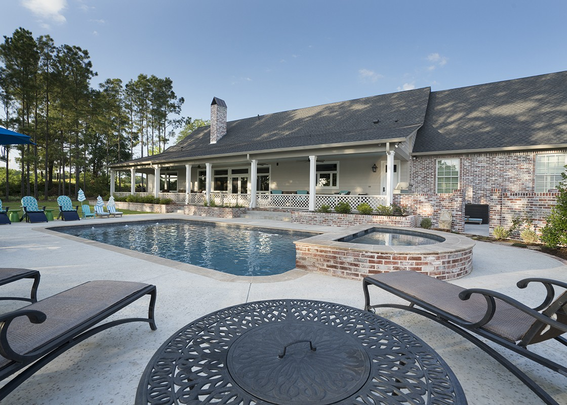 Open pool with details made by Granite Division from Tyler