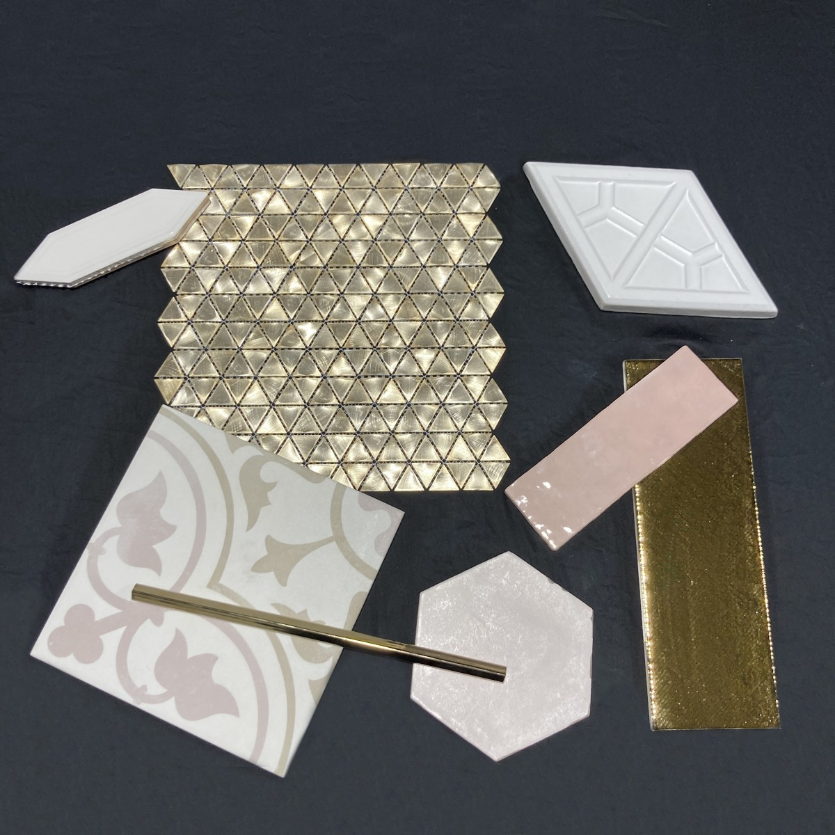 Soft glam, design inspiration for tile walls and floors made by Granite Division from Tyler Texas