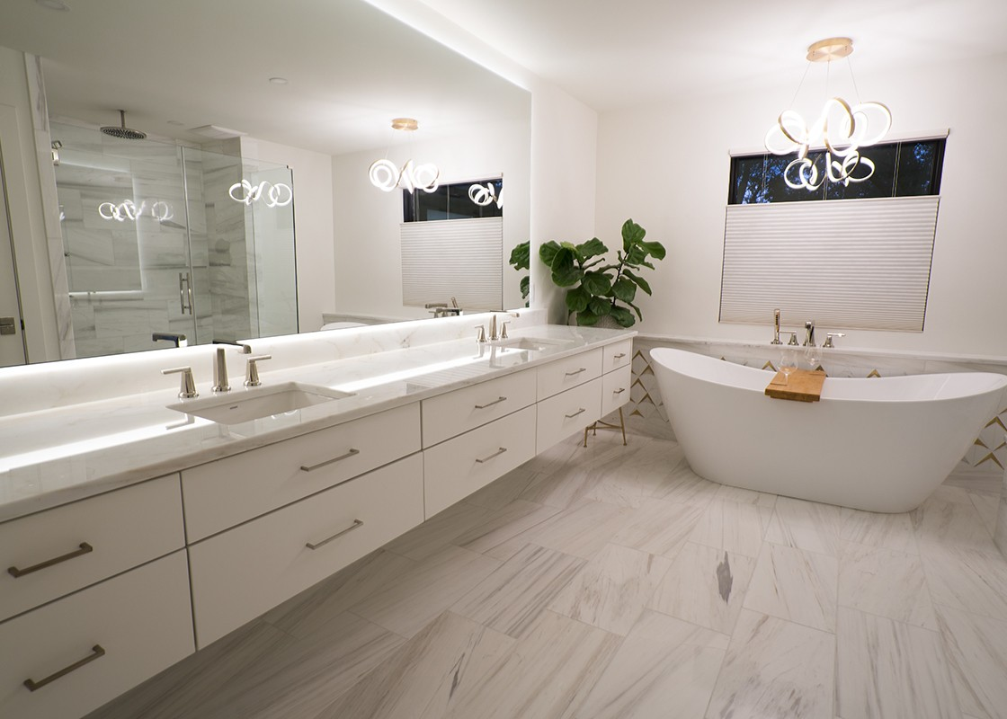 Bathroom with natural stone countertops